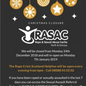 Rape Crisis Scotland Helpline & Sexual Assault Referral Network open over the festive season.