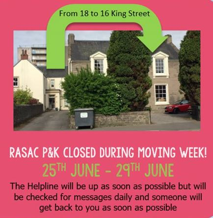 RASAC P&K Closed during moving week 25th to 29th June